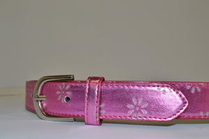 BAILEY - Girls Pink Belt with Flower Detailing and Silver Buckle  - Belt N Bags
