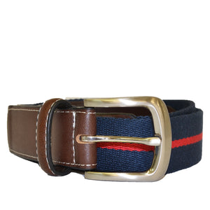 DUKE - Cotton Canvas Men's Navy and Red Stripe Leather Belt - Belt N Bags