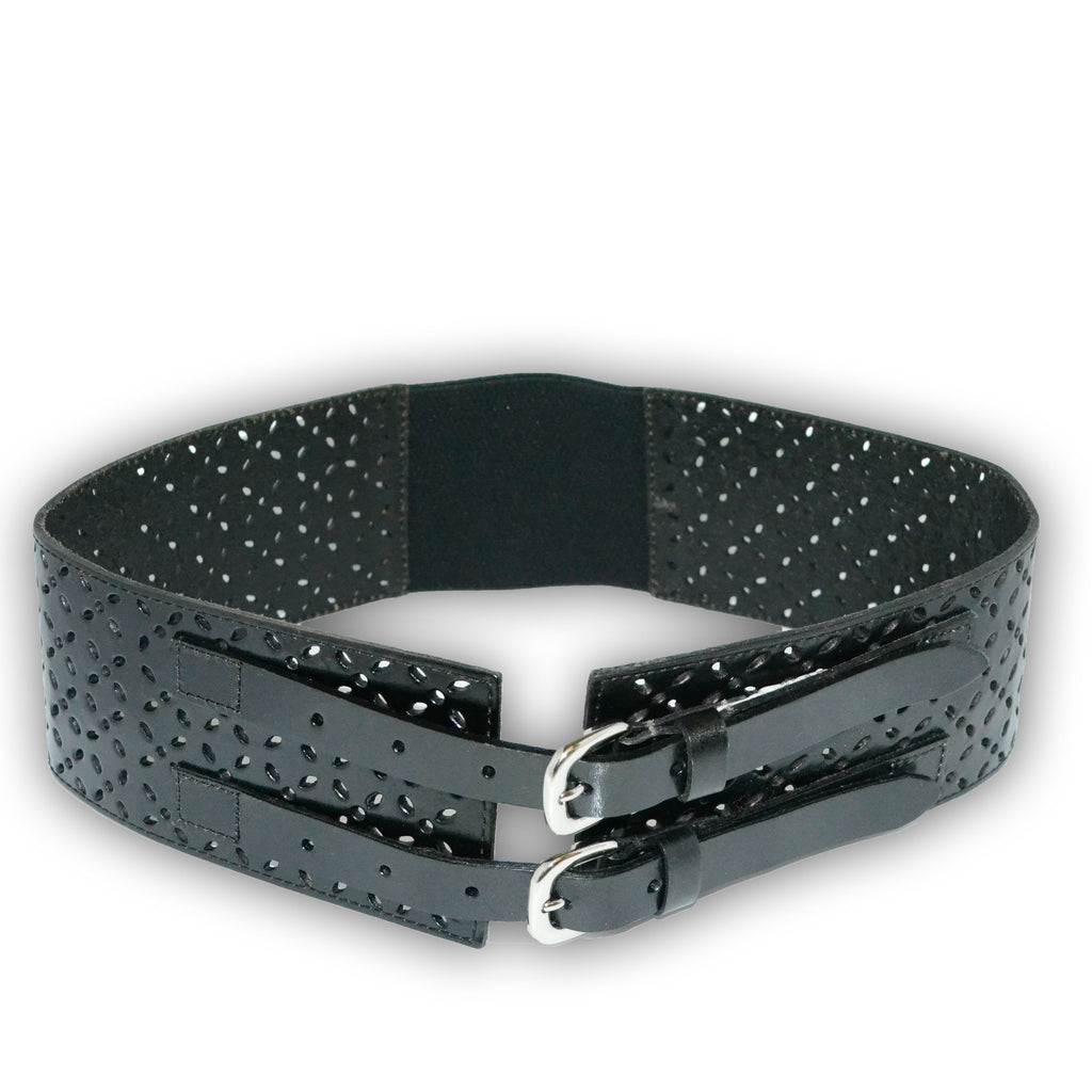 PICTON - Addison Road Double Buckle Black Wide Waist Belt  - Belt N Bags