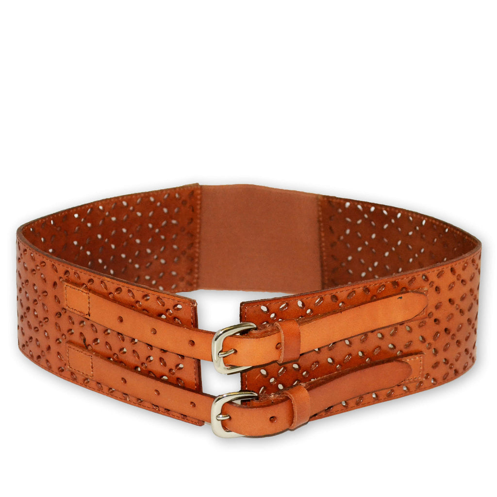 PICTON - Addison Road Leather Wide Double Buckle Tan Waist Belt - BeltNBags