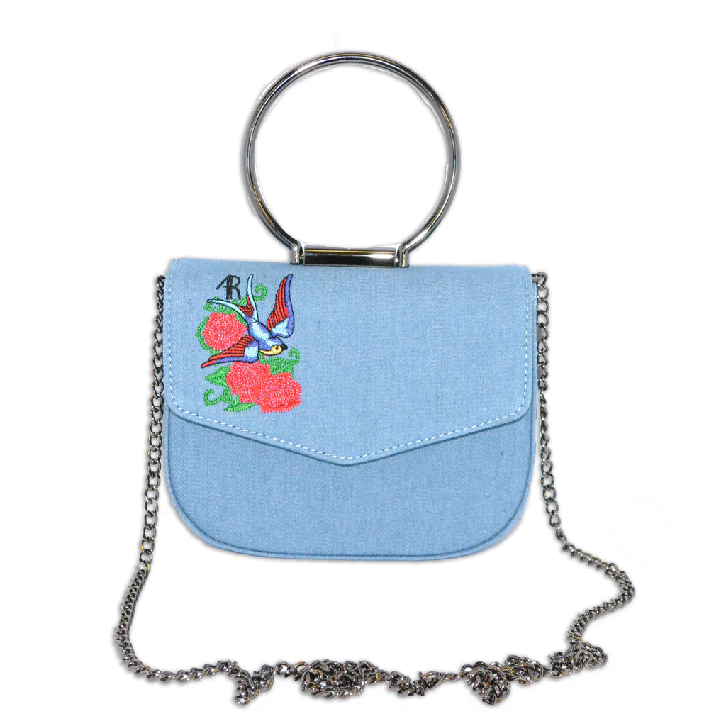 ABERMAIN - Addison Road Denim Embroidered Floral Bag With Hardware Handle - BeltNBags