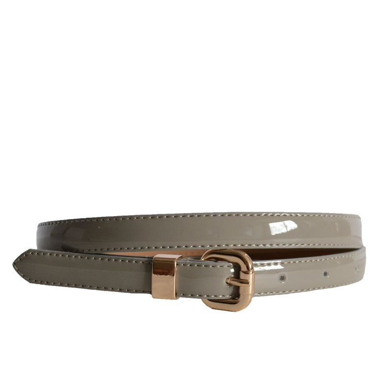 Queens Park - Womens Skinny Grey Patent Leather Belt with Gold Buckle