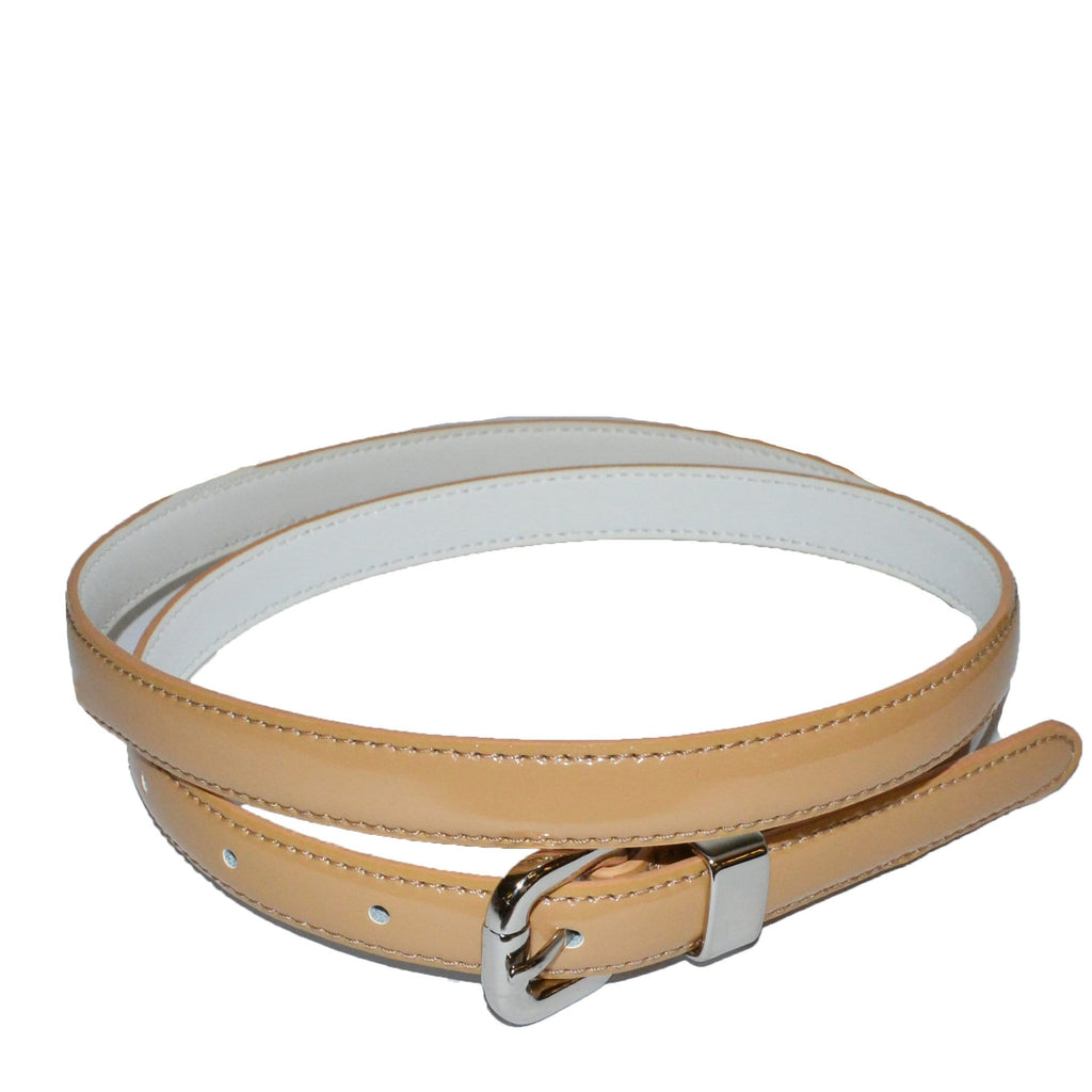 CARRIE - Womens Shimmery Gold Patent Skinny Leather Belt  - Belt N Bags