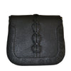 CAMELA - Black Faux Leather Saddle Bag - Belt N Bags