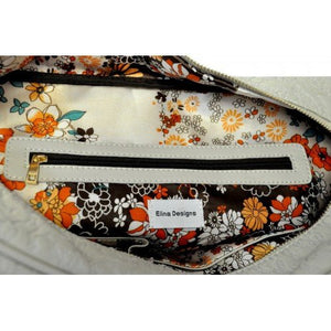 FARLEY -  Womens Off-White Lamb Embroidered Stitching Unique Handbag  - Belt N Bags