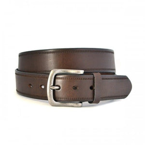 DUNDEE - Mens Brown Genuine Leather Belt-Mens Belt-BeltNBags-BeltNBags