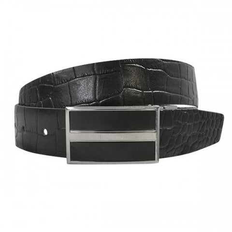 DYLAN - Mens Black Genuine Leather Reversible Belt
