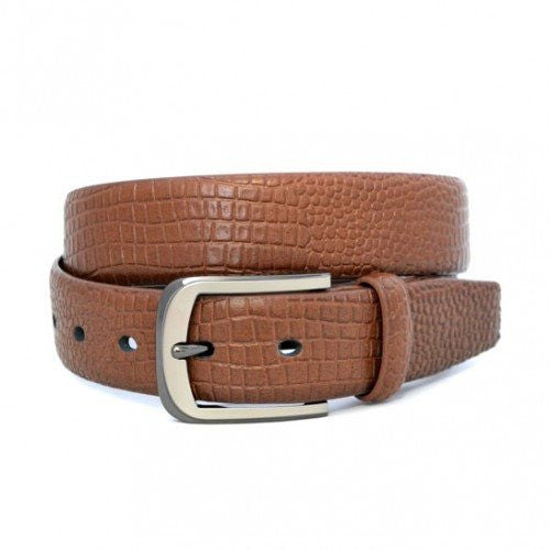 DACIC - Mens Brown Vegan Snakeskin Leather Belt  - Belt N Bags
