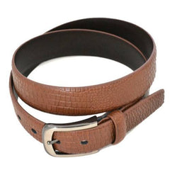 DACIC - Mens Brown Faux Snakeskin Leather Belt