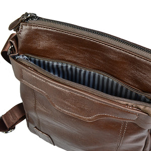 DARREN - Mens Brown Faux Leather Messenger Satchel Crossbody Bag - BeltNBags