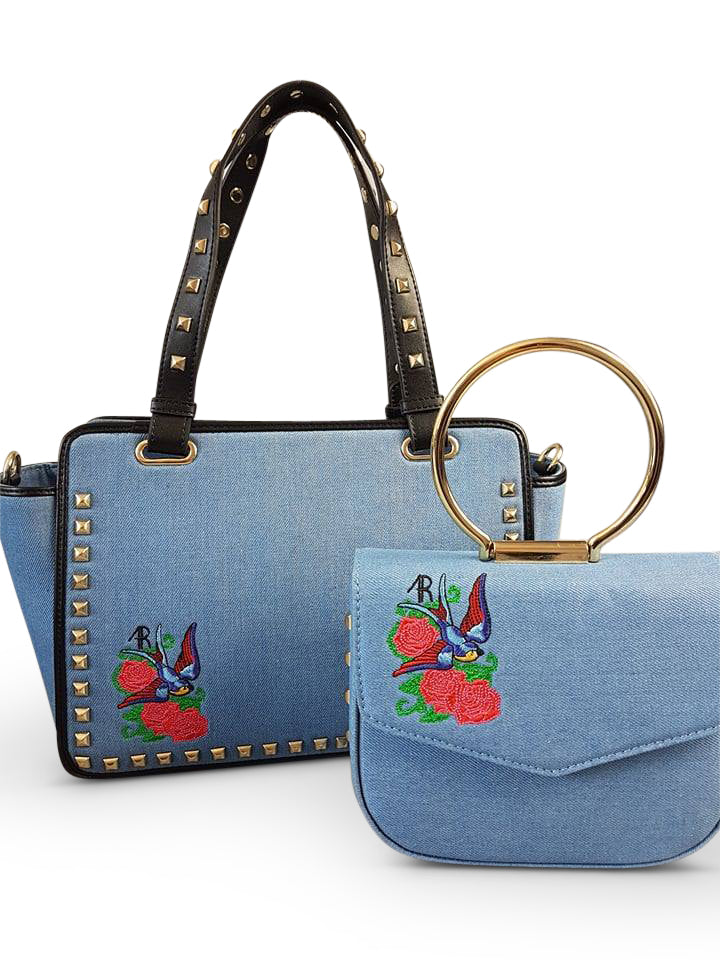DENMAN - Womens Embroidered Floral Across Body Bag With Studded Handle - CLEARANCE