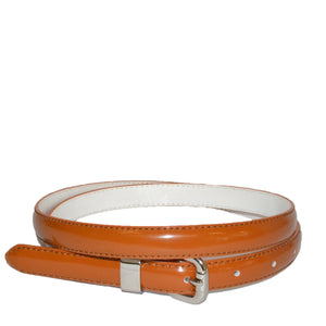 CARRIE - Womens Brown Patent Skinny Leather Belt with Silver Buckle  - Belt N Bags