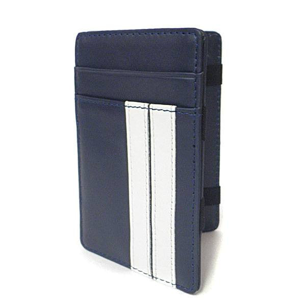 ELLIS - Mens Navy Genuine Leather Wallet Magic Flip Wallet with Stripes  - Belt N Bags