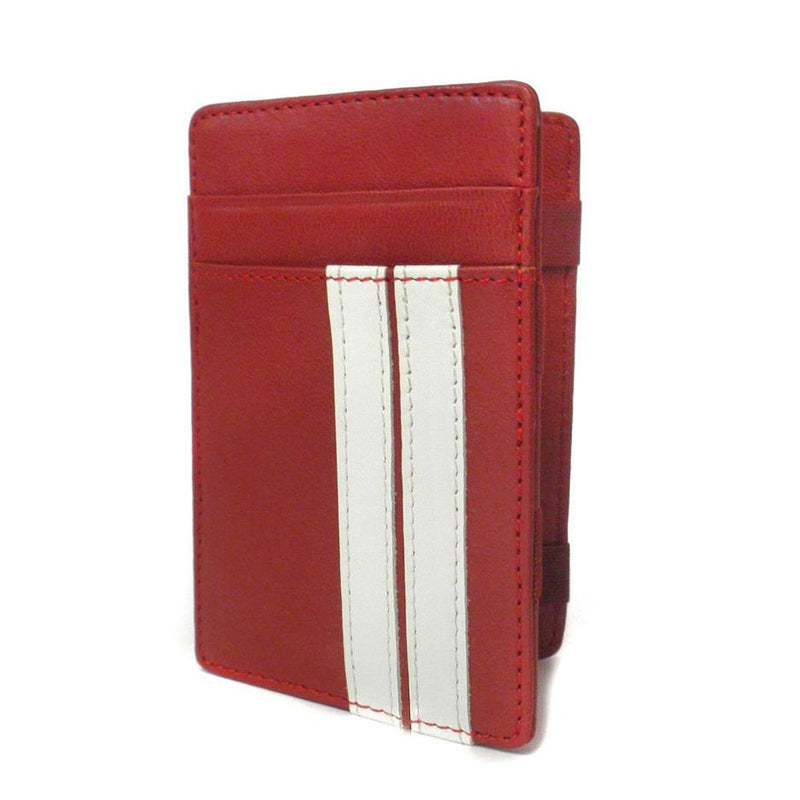 ELLIS - Mens Red Genuine Leather Wallet Magic Flip Wallet with Stripes - BeltNBags