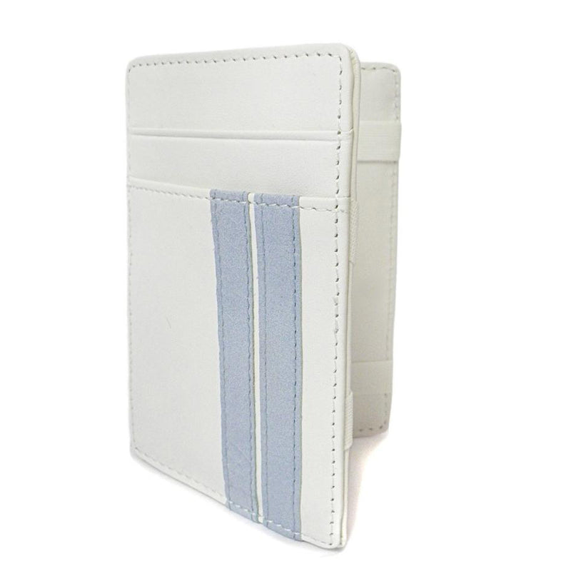 ELLIS - Mens White Genuine Leather Wallet Magic Flip Wallet with Stripes - BeltNBags