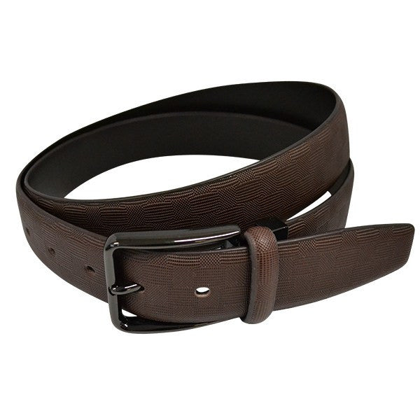 EMMANUEL - Mens Brown Leather Dress Belt with Bronze Buckle - Belt N Bags