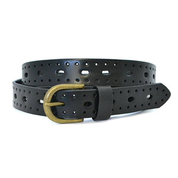 ENID - Womens Black Leather Belt  - Belt N Bags