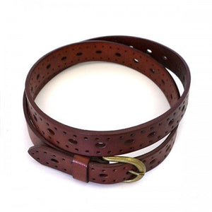 ENID - Womens Garnet Leather Belt with Gold Antique Buckle  - Belt N Bags