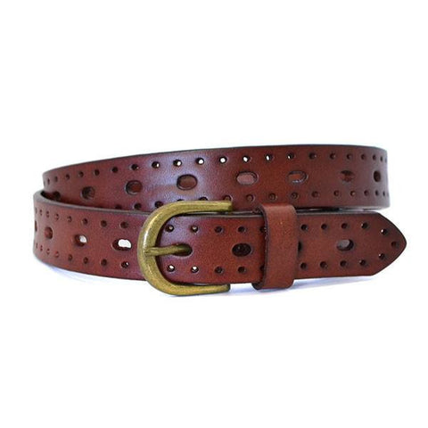ENID - Womens Garnet Leather Belt