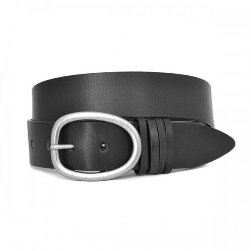 EDWIN - Mens Black Leather Dress Belt
