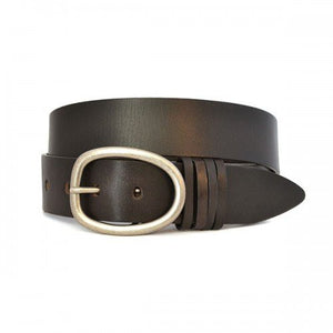 EDWIN - Mens Dark Brown Leather Dress Belt - Belt N Bags