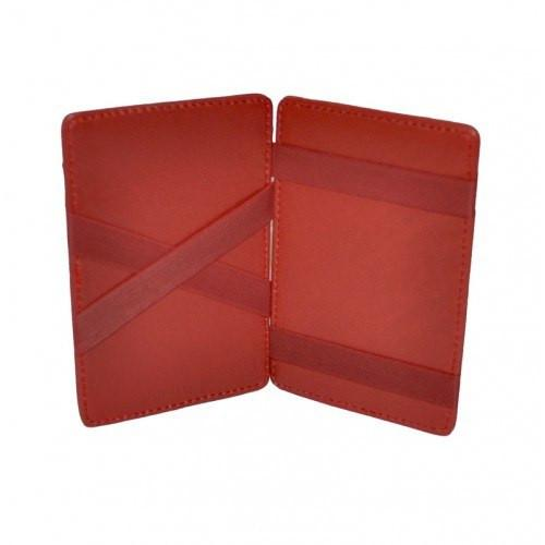 ELLIS - Mens Red Genuine Leather Wallet Magic Flip Wallet with Stripes  - Belt N Bags