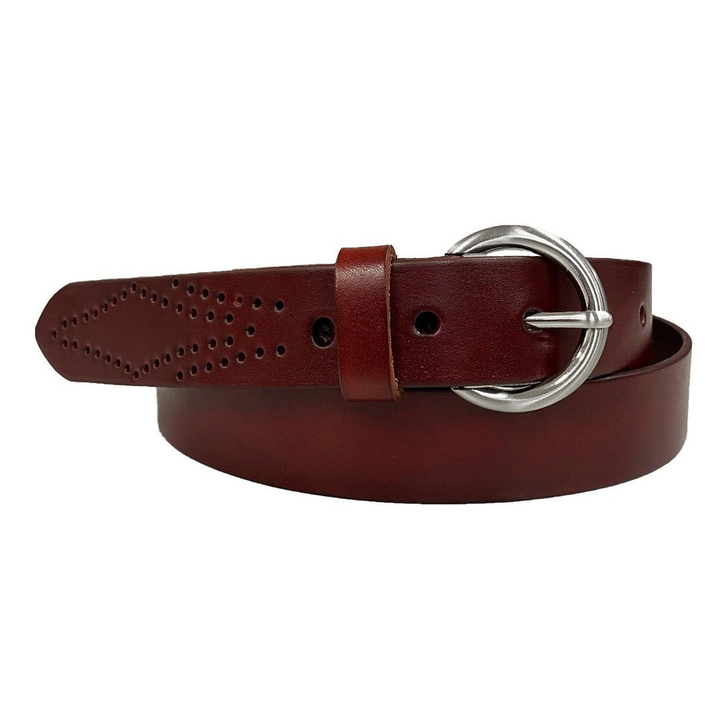 ESPERANCE - Women's Burgundy Genuine Leather Belt with Round Silver Buckle