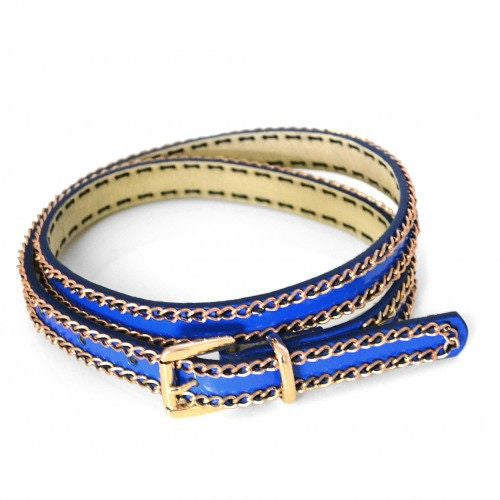 EVELYN - Womens Blue Vegan Leather Gold Chain Belt - Belt N Bags