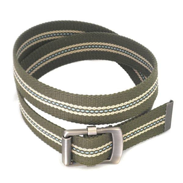 FREDRIK - Mens Khaki & Cream Canvas Webbing Belt - CLEARANCE  - Belt N Bags