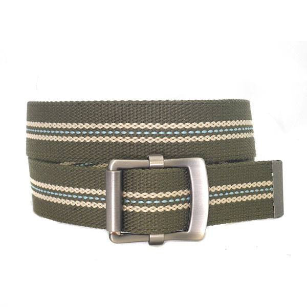 FREDRIK - Mens Khaki & Cream Canvas Webbing Belt - Belt N Bags