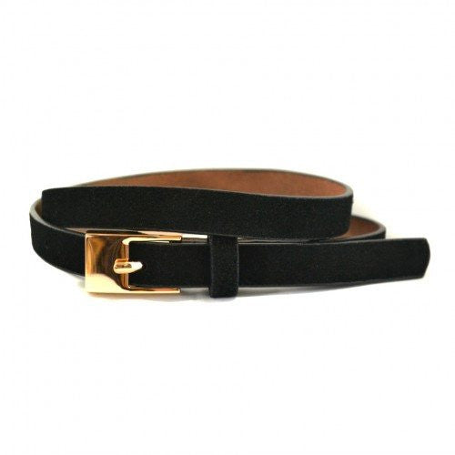 FAITH - Womens Soft Suede Black Genuine Leather Belt with Gold Buckle  - Belt N Bags