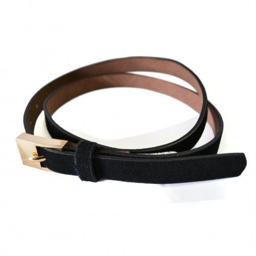 FAITH - Womens Thin Black Genuine Leather Belt - Belt N Bags