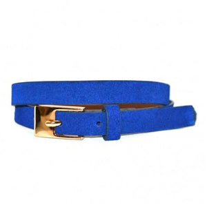 FAITH - Womens Blue  Soft Suede Leather Belt  - Belt N Bags
