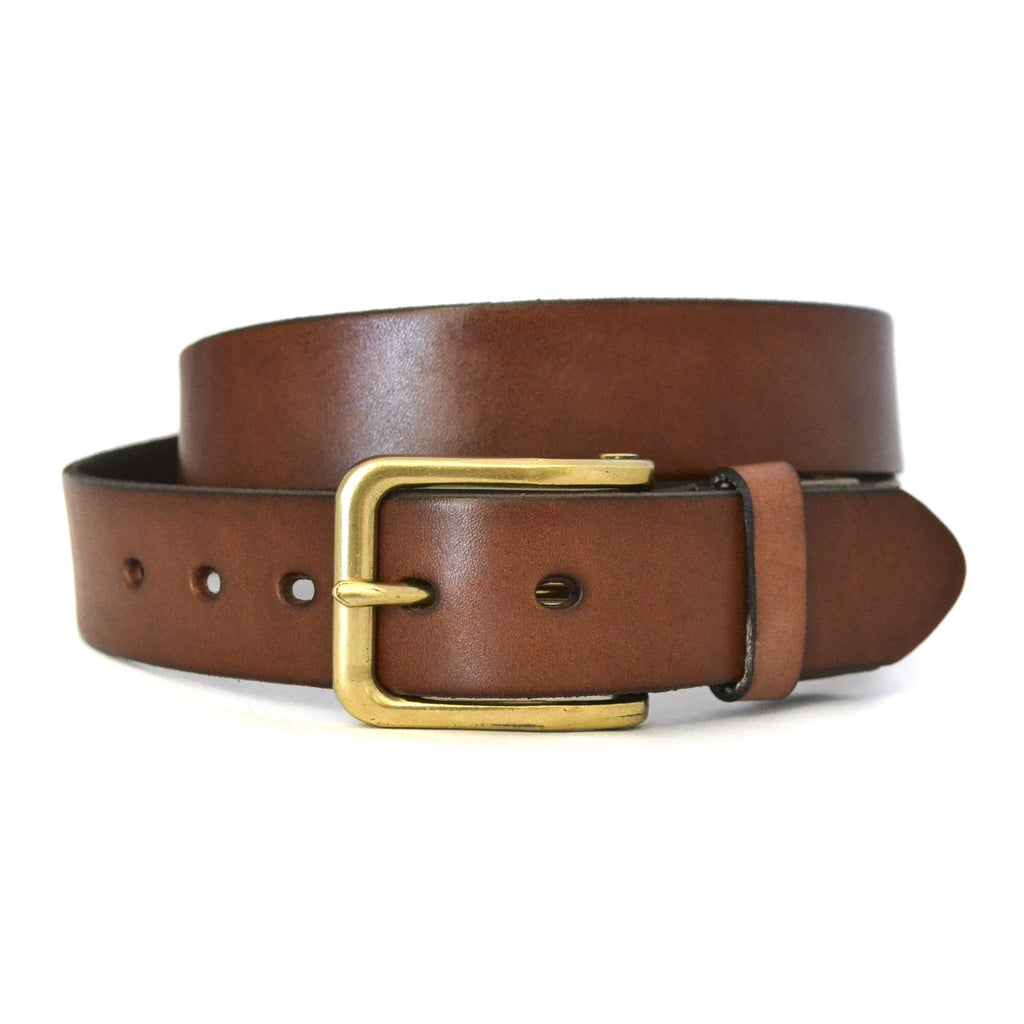 FLORIDA - Mens Tan Genuine Leather Belt with Antique Gold Buckle  - Belt N Bags