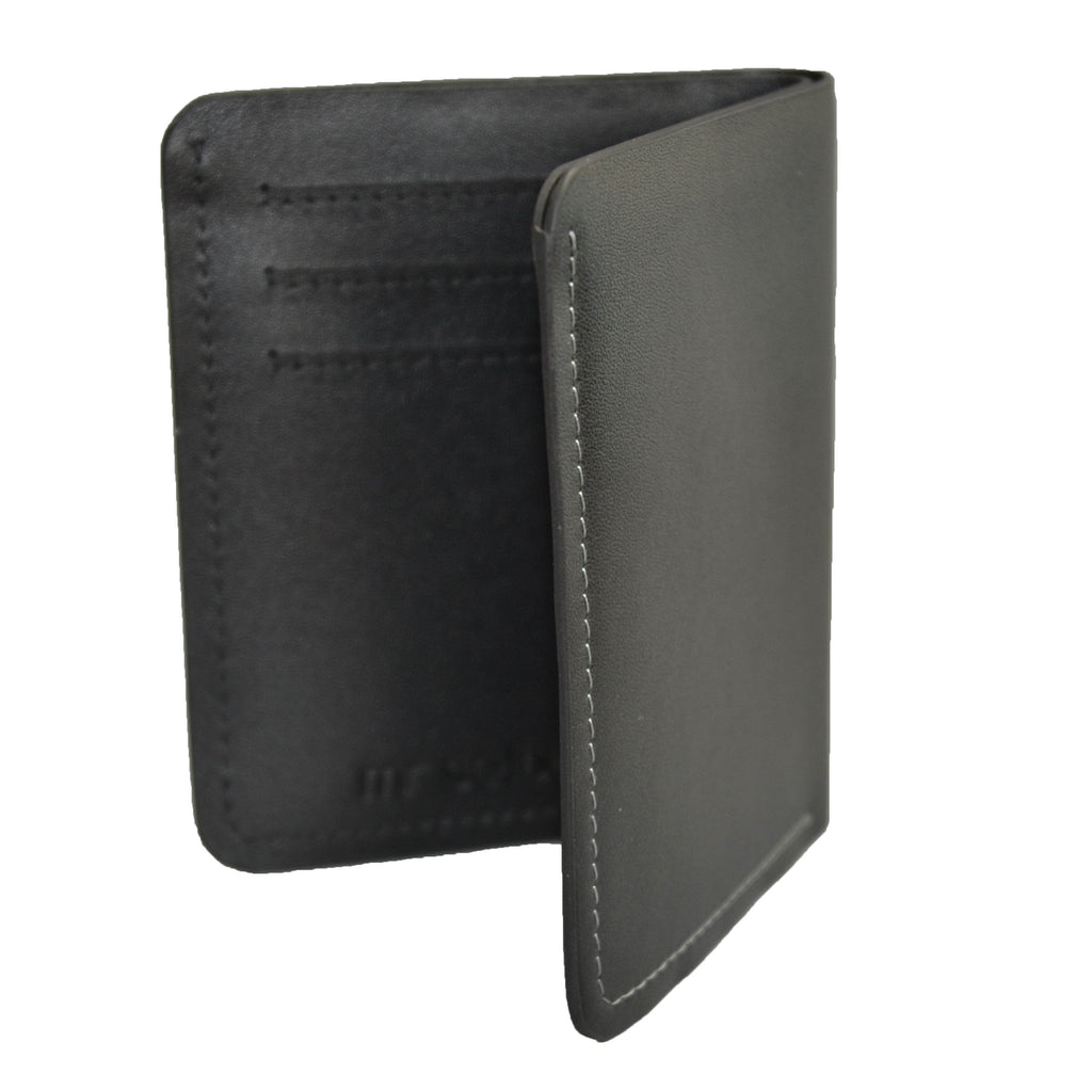 FORBES - Black Genuine Leather Card Holder Thin Wallet - Belt N Bags