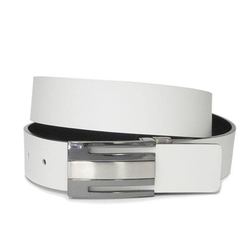 GEORGIA - Mens Black and Cream Bonded Leather Belt - BeltNBags