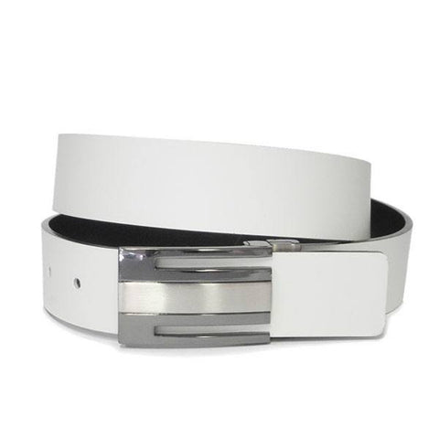 GEORGIA - Mens Black and Cream Bonded Leather Belt