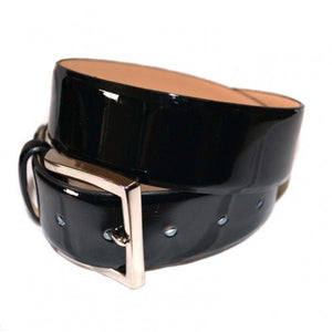 GRACE - Womens Black Patent Finish Leather Belt with Silver Buckle  - Belt N Bags
