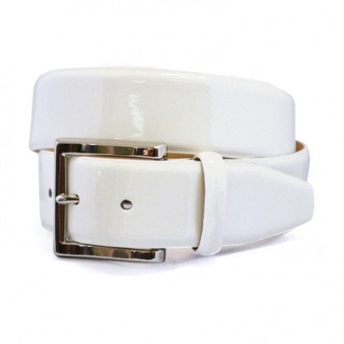 GRACE - Womens Off-White Patent Finish Leather Belt with Silver Buckle - CLEARANCE  - Belt N Bags