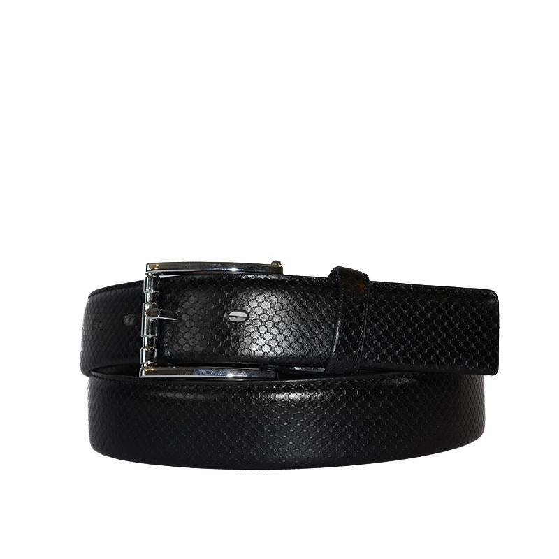 HARRIS - Mens Black Snake Texture Leather Belt  - Belt N Bags