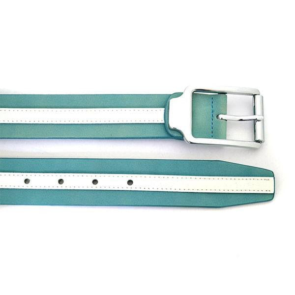 HERRY - Unisex Blue & White Leather Belt - CLEARANCE  - Belt N Bags