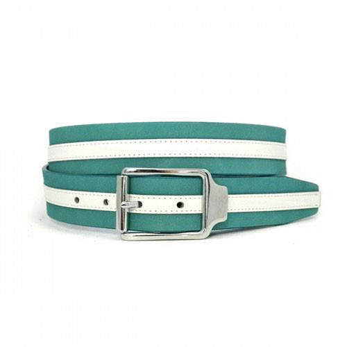 HERRY - Unisex Blue & White Leather Belt - BeltNBags