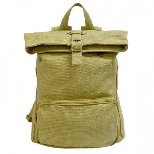IDAHO - Khaki Canvas Rucksack Backpack with Front Zip Pocket - Belt N Bags