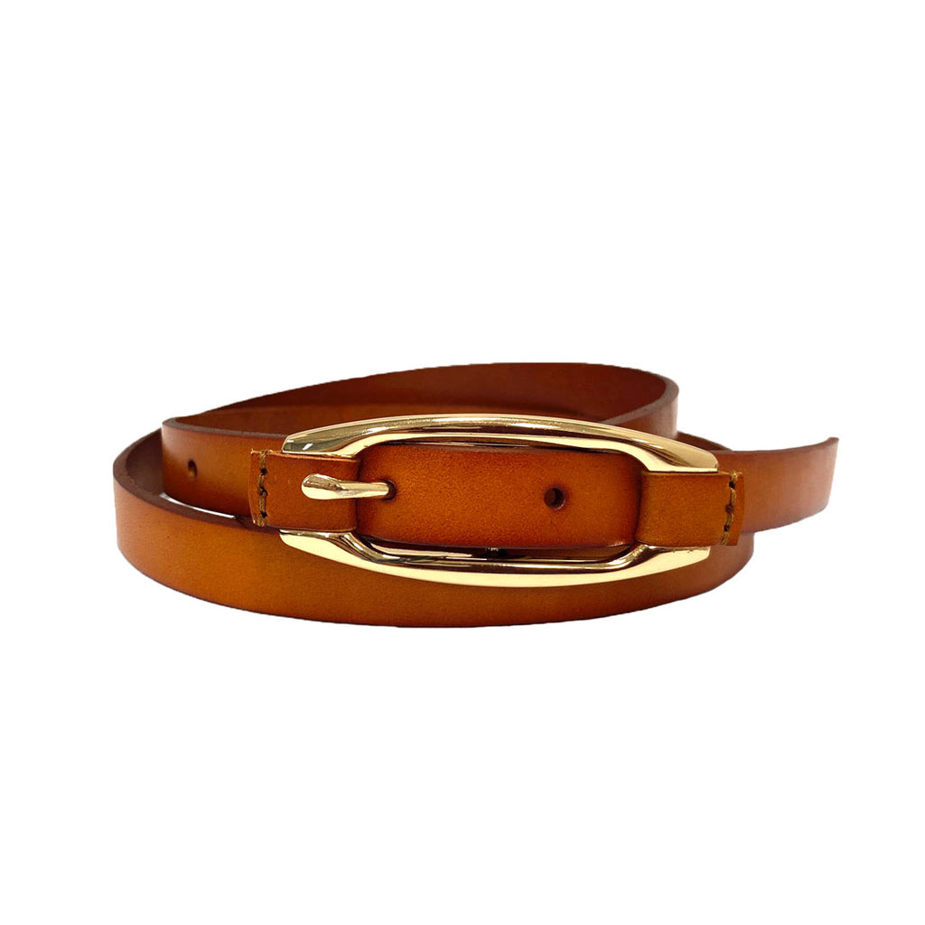 CADIA - Women's Tan Genuine Leather Skinny Belt with Oval Gold buckle