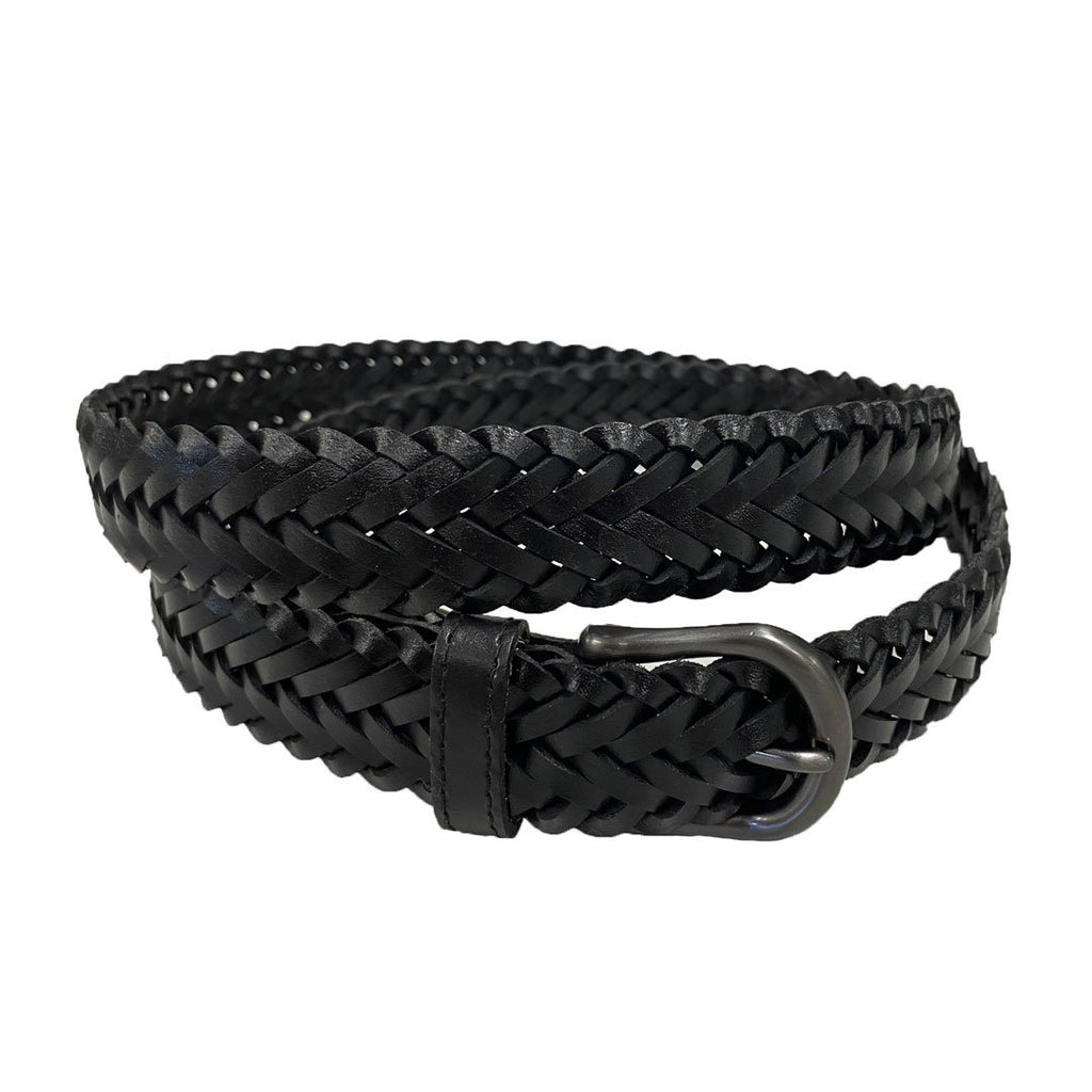 ZAREH - Womens Black Plaited Leather Belt with Gunmetal Buckle