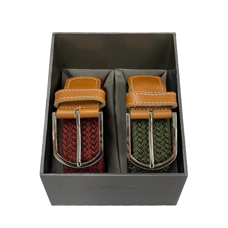 OSCAR - Mens Olive and Burgundy Woven Cotton Elastic Belt Gift Pack