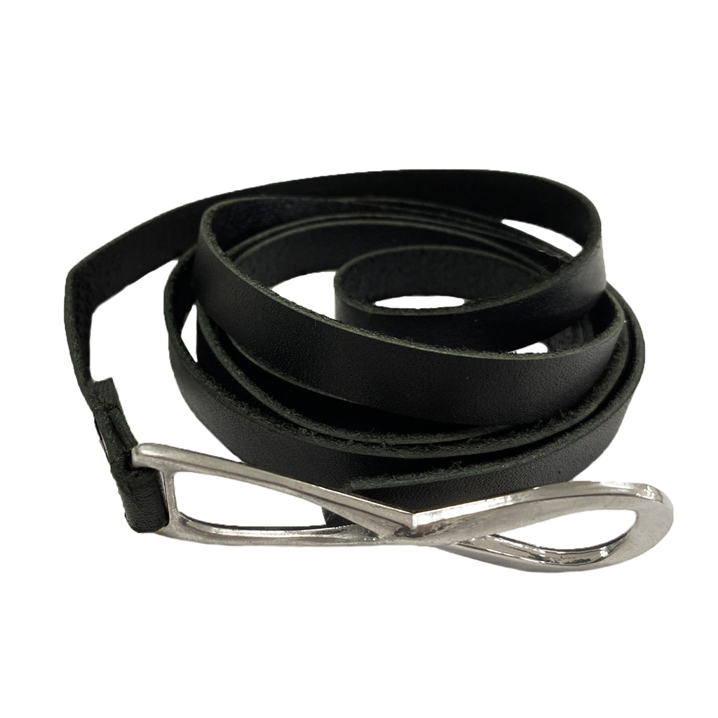 MARENGO - Women's Black Genuine Leather Skinny Belt