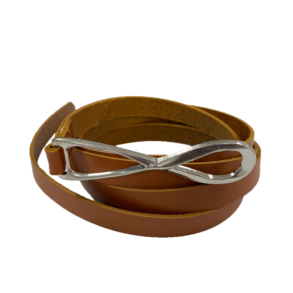 MARENGO - Women's Tan Genuine Leather Skinny Belt