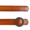 LILYDALE - Women's Tan Genuine Leather Belt with Round Silver buckle