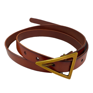 SUNBURY -  Tan Genuine Leather Belt with Triangle Buckle